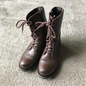 STEVE MADDEN combat boots Sz 7.5 brown side zipper